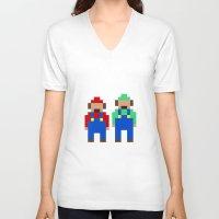 luigi V-neck T-shirts featuring Mario and Luigi by Pixel Icons