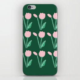 Tulips Pattern in Light Pink and Dark Green iPhone Skin