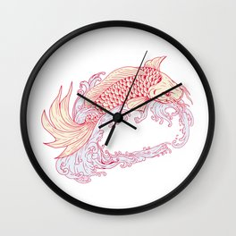 Nishikigoi Koi Jumping Waves Drawing Wall Clock