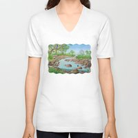 river V-neck T-shirts featuring  river  by Amy Fan