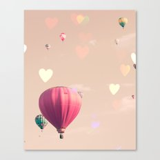 Hot air balloons nursery and heart bokeh on pale pink Canvas Print