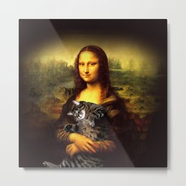 Mona lisa fat crazy cat photo kitty fatso famous painting Metal Print