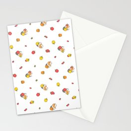 Bell Peppers and Guinea Pigs Pattern in White Background Stationery Cards