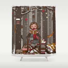 Lily reads for the Forest Animals on Christmas Eve Shower Curtain