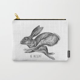 Animal Art | Hare and Quote by Magda Opoka | Animals | Black and White | black-and-white | bw Carry-All Pouch