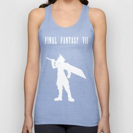 Cloud Strife Silhouette Minimal (White) - Final Fantasy VII Unisex Tank Top