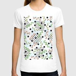 Retro Memphis 80's Disco Confetti Design Pattern T-shirt