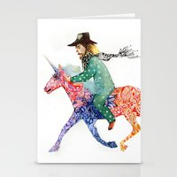 cowboy Stationery Cards featuring Cowboy by Ksenia Sapunkova
