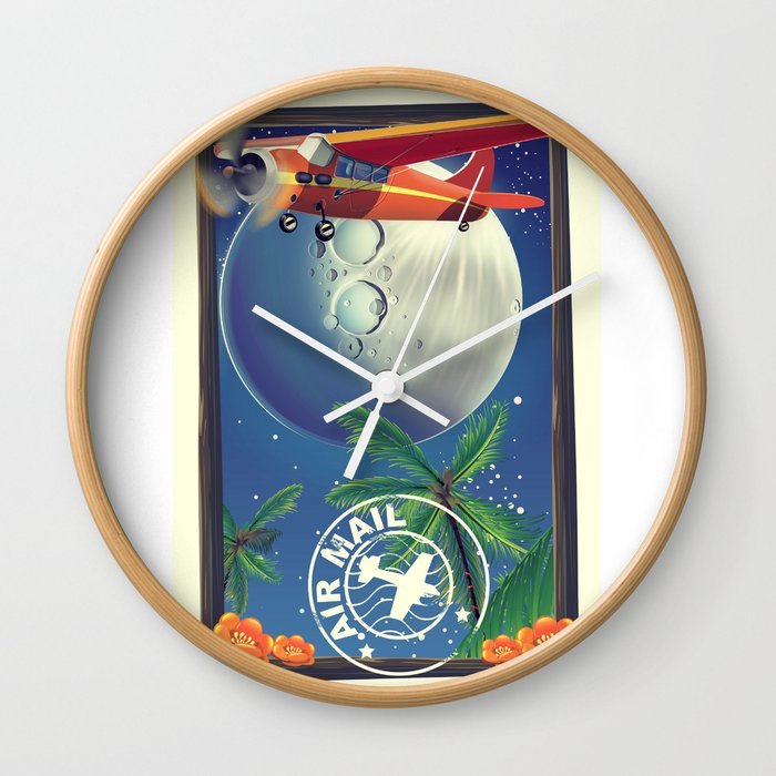 Vintage Air Mail poster Wall Clock