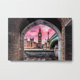 London Big Ben Pink Metal Print