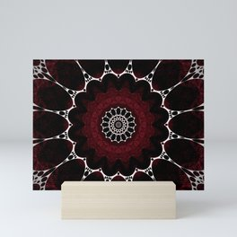 Deep Ruby Red Mandala Design Mini Art Print