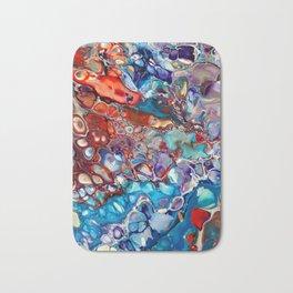 Colorful and Unique Fluid Pour Print - Red, Blue and Purple Bath Mat