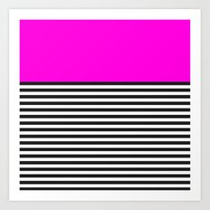 STRIPE COLORBLOCK {PINK} Art Print