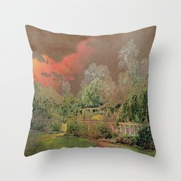 English Garden Sunset Throw Pillow