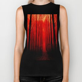 Misty Red Forest Biker Tank
