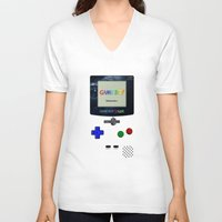 gameboy V-neck T-shirts featuring GAMEBOY by MiliarderBrown
