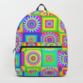 Multicoloured Patchwork Flowers Hippy Style Backpack