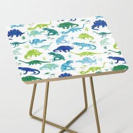 Watercolor Dinosaur Pattern White Green Blue Side Table
