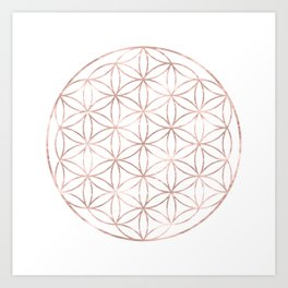 Mandala Rose Gold Flower of Life Art Print