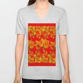 CHINESE RED GOLDEN DAFFODILS GARDEN ART DESIGN Unisex V-Neck