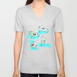 Aqua Yoga Pigs - Downward Facing Hog Unisex V-Neck