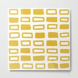 Mid Century Modern Abstract Squares Pattern 442 Mustard Yellow Metal Print