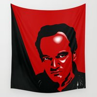 quentin tarantino Wall Tapestries featuring Tarantino by denrees