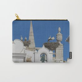 storks build nests on the church in the old town of faro, portugal, europe Carry-All Pouch