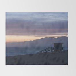 Lifeguard House Sunset - Ocean Sunset, Seascape, Landscape, Scenery, Beautiful Light Lavender Throw Blanket