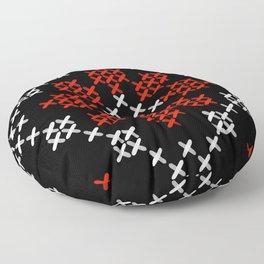 Traditional Romanian flower cross-stitch pattern black Floor Pillow
