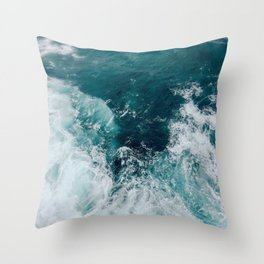 Ocean Waves (Teal) Throw Pillow