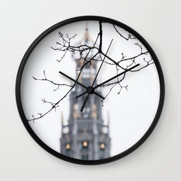Iconic St. Bavo Church tower of Haarlem in winter II | Haarlem historical city, the Netherlands | Urban travel photography Wall Clock