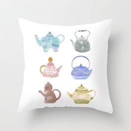 Waterclor Teapot Collection Throw Pillow