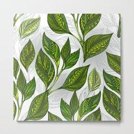 Seamless Pattern with Green Tea Leaves Metal Print