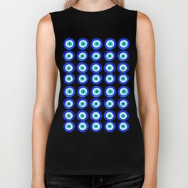 Evil Eye Amulet Talisman - on black Biker Tank