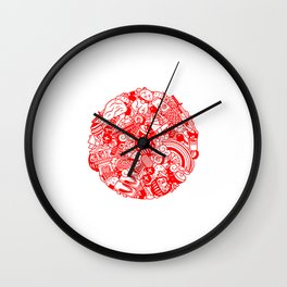 Land of the Rising Doodle Wall Clock
