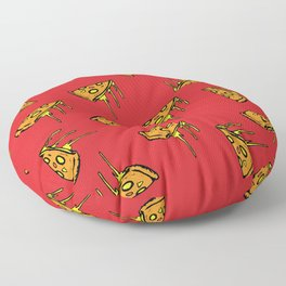 Pepperoni Pizza Dripping Cheese by the Slice Pattern (red) Floor Pillow