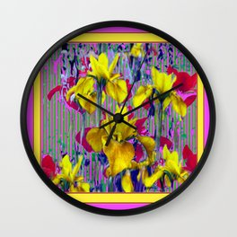 Wild Mustard Yellow Iris Fuchsia-Purple-Pink Pattern Abstract Wall Clock