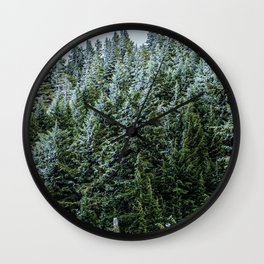 Snow Bank Woodlands // Photograph of the Dense Blue Green Evergreen Pine Tree Forest Wall Clock