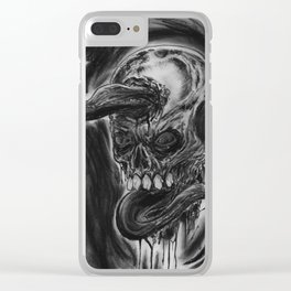 Charcoal Skull Of Death Clear iPhone Case