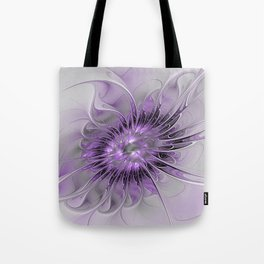 Lilac Fantasy Flower, Fractal Art Tote Bag