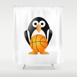 Funny penguin with a basketball ball Shower Curtain