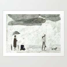 Umbrella Seller Art Print