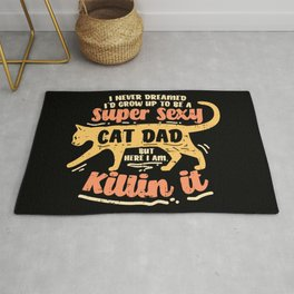 Sexy Cat Dad Father Catfather Kitten Kitty Gift Funny Saying Rug