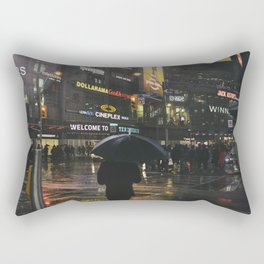 City Lights and Lonely Man in Toronto Street photography Rectangular Pillow