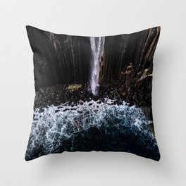 Aerial of Basalt waterfall flowing into the Atlantic ocean on the Isle of Skye - Landscape Photo Throw Pillow