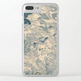 Baesic Monochromatic Paint Pour (Pale Blue) Clear iPhone Case