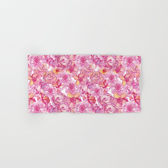 Rose pattern - Floral roses watercolor pattern Hand & Bath Towel
