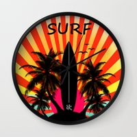 surf Wall Clocks featuring Surf by mark ashkenazi