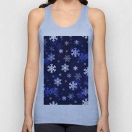 Dark Blue Snowflakes Unisex Tank Top